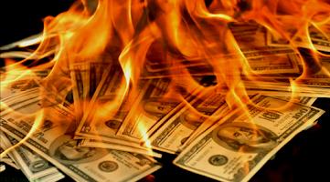 Screenshot of Dollars in Fire Live Wallpaper