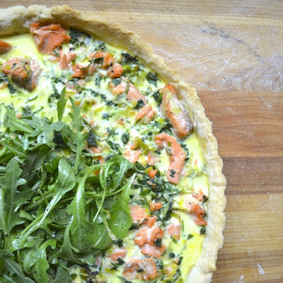 Arugula, Salmon, and Leek Tart