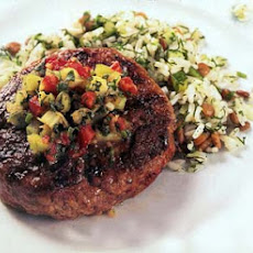 Lamb Burgers with Red-and Green-Tomato Chutney