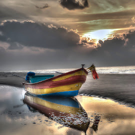 Hues of Serenity by Sandeep Nagar - Transportation Boats ( reflection, sky, hues of serenity, sea, cloud, beach, sunrise, boat, morning )