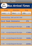 Screenshot of DC Metro Bus Tracker