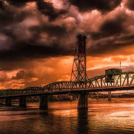 Hawthorne Bridge Portland by Jeremy Hill - Buildings & Architecture Bridges & Suspended Structures ( sunset, bridge, landscape, river )