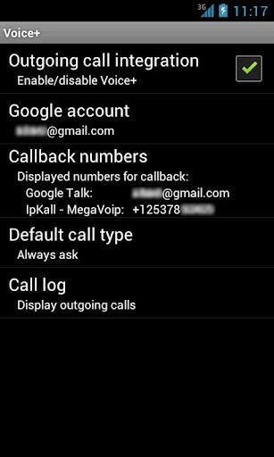 Voice+ Google Voice callback