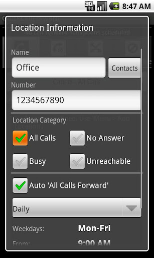 QuickCallForward - screenshot