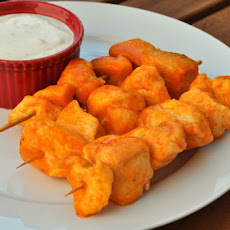 Deep Fried Buffalo Chicken Skewers