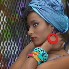 African inspired Accessories  by Monika Schaible - People Fashion ( urban, african, red earring, monika schaible, bangles )