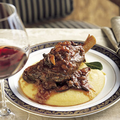 Braised Lamb Shanks on Soft Polenta with Bay Leaves