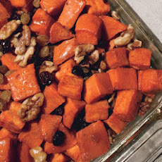 Garnet Yams with Maple Syrup, Walnuts, and Brandied Raisins