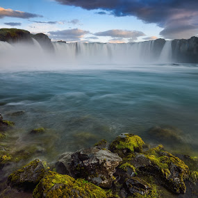 Fall of the gods by Lucian Satmarean - Landscapes Travel ( godafoss, iceland, waterfall, long exposure, flow )