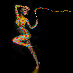 H A R L E Q U I N by Mike Lloyd - Digital Art People ( harlequin, girl, clown, performer, dance, digital, circus )
