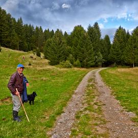 A shepherd by Stanislav Horacek - Landscapes Prairies, Meadows & Fields