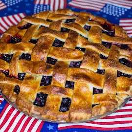 Blue Berry Pie by Greg Moore - Food & Drink Cooking & Baking ( flag, blueberry, patriotic, pie, crust )