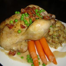 Golden Cornish Game Hens for 2 (Bacon-Herb Bread Stuffing)
