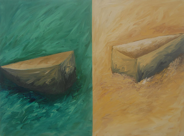 Green and Yellow Boats, diptych <br><br> Acrylic paint, charcoal on canvas <br><br> 30 x 40 in