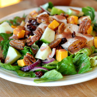 Romaine Salad with Chicken, Cheddar, Apples, Spiced Pecans and Cranberry Vinaigrette