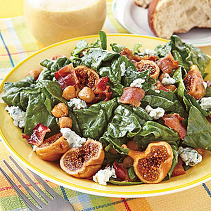 Spinach Salad with Figs and Warm Bacon Vinaigrette Recept | Yummly