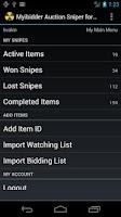 Screenshot of Myibidder Bid Sniper for eBay