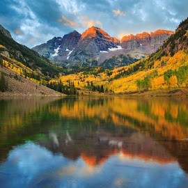 Maroon Bells Sunrise by Steve Scholle - Landscapes Mountains & Hills ( reflection, mountain, autumn, rocky mountains, fall, colorado, alpenglow, sunrise, maroon bells, aspen )