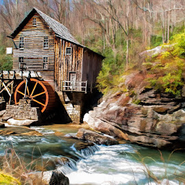 Spring on Glade Creek by Lowell Griffith - Buildings & Architecture Public & Historical ( water, mill, glade creek, west virginia, whitewater, gristmill )
