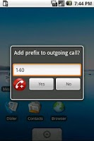 Screenshot of Prefix Dialer