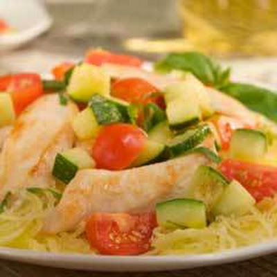 Sauteed Chicken & Vegetables Over Spaghetti Squash