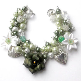 Green Rose Heart Charm Bracelet by Janet Skoyles - Artistic Objects Jewelry
