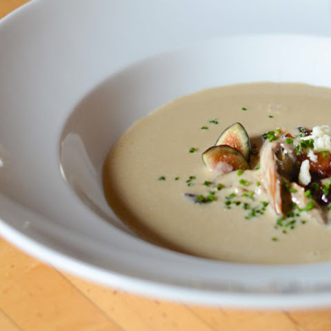 Mushroom Soup with Fall Fruit Compote