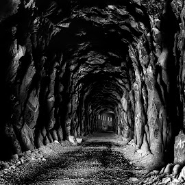 Tunnel Vision by Kristen Kabrin - Landscapes Caves & Formations ( snow shed, black and white, cave, tunnel )