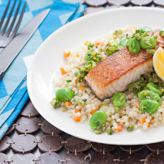 Pan-Seared Salmon over Whole Wheat Israeli Couscous with Fava Bean-Olive Relish
