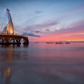 moonrise and sunset by Edward Kreis - Landscapes Sunsets & Sunrises ( playa los muertos, sunset, twilight, old town, pacific ocean, pier, long exposure, beach, puerto vallarta, moonrise )