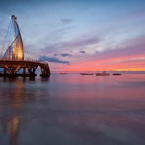 moonrise and sunset by Edward Kreis - Landscapes Sunsets & Sunrises ( playa los muertos, sunset, twilight, old town, pacific ocean, pier, long exposure, beach, puerto vallarta, moonrise,  )