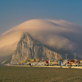 Levante cloud above the Rock of Gibraltar by Fotografia Eva Stachova - Landscapes Cloud Formations ( gibraltar, thick, levantar, weather, cloud, rock, heavy, big, levante,  )