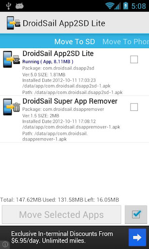 droidsail-super-app2sd-lite for android screenshot