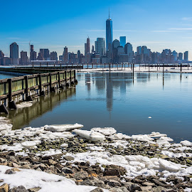 Financial District  by Marco Catini - City,  Street & Park  Skylines ( water, winter, february, 2015, marco catini photography, nyc, new york, nj, river, new jersey, hudson river )