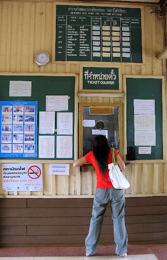 Ticket counter at Tha Kilen train station