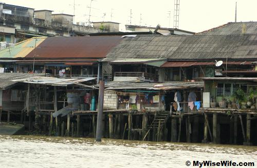 Chao Phraya water front houses.