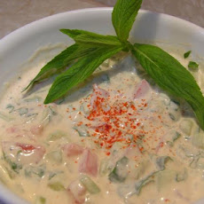 Cucumber, Mint, and Tomato Raita
