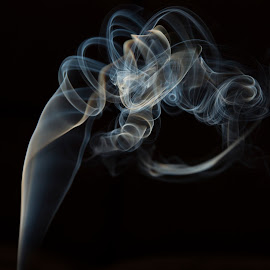 Smoke Rings In The Dark by Tiffany Noles-Bailey - Abstract Fire & Fireworks ( contrast, tendrils, rings, smoke )