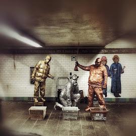 Metallic Cowboys  by Jarrett Aress - People Musicians & Entertainers ( #subway #cowboy #nyc #newyorkcity )