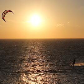 Sunset with Kitesurfing by Bruno Perez - Sports & Fitness Watersports ( wind, sunset, kitesurf, spain, tarifa )