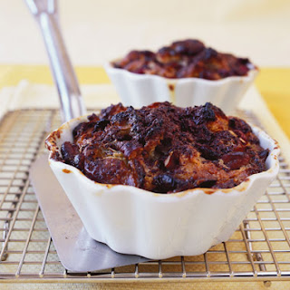 Individual Croissant Bread Puddings with Dried Cherries, Bittersweet Chocolate, and Toasted Pecans