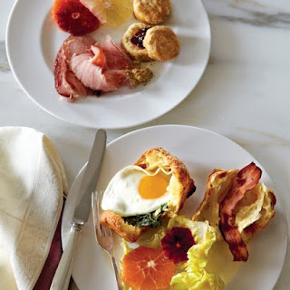 Gruyere Popover Sandwiches with Fried Eggs and Creamed Spinach