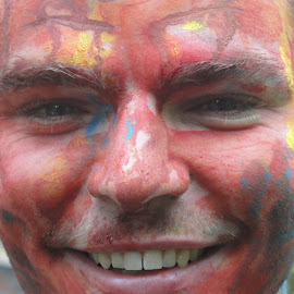 In Celebration of Holi by Sherri Hillman - People Body Art/Tattoos ( red face paint, holi, people, hindu celebration, face painting )