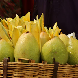 The queen of fruits ! by Anoop Namboothiri - City,  Street & Park  Markets & Shops ( sweet, market, fruits, basket, ripe, anoop namboothiri, yellow, bamboo basket, mangoe.mangoes,  )