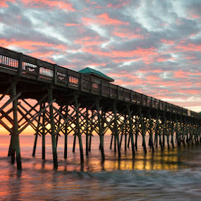 Folly Morning by Brian Young - Landscapes Sunsets & Sunrises ( folly, sc, pier, ocean, beach, sunrise, south carolina )