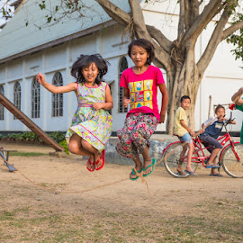 Jumping Rope by Richard Duerksen - Babies & Children Children Candids ( jumping rope, india, kids, nagaland )