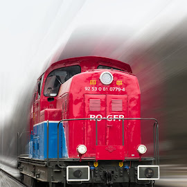 CFR by Cosmin Stahie - Transportation Trains ( cfr, diesel, radial, red, engine, blue, speed, train, romania, blur )
