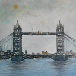 Tower Bridge, London by Rhonda Lee - Painting All Painting ( england-seascape, art, bridge, river )