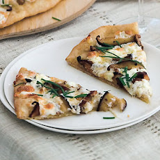 Shiitake and Chanterelle Pizzas with Goat Cheese