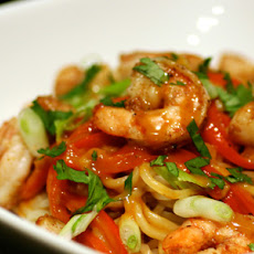 Peanut Curry Noodles with Seared Shrimp & Scallops